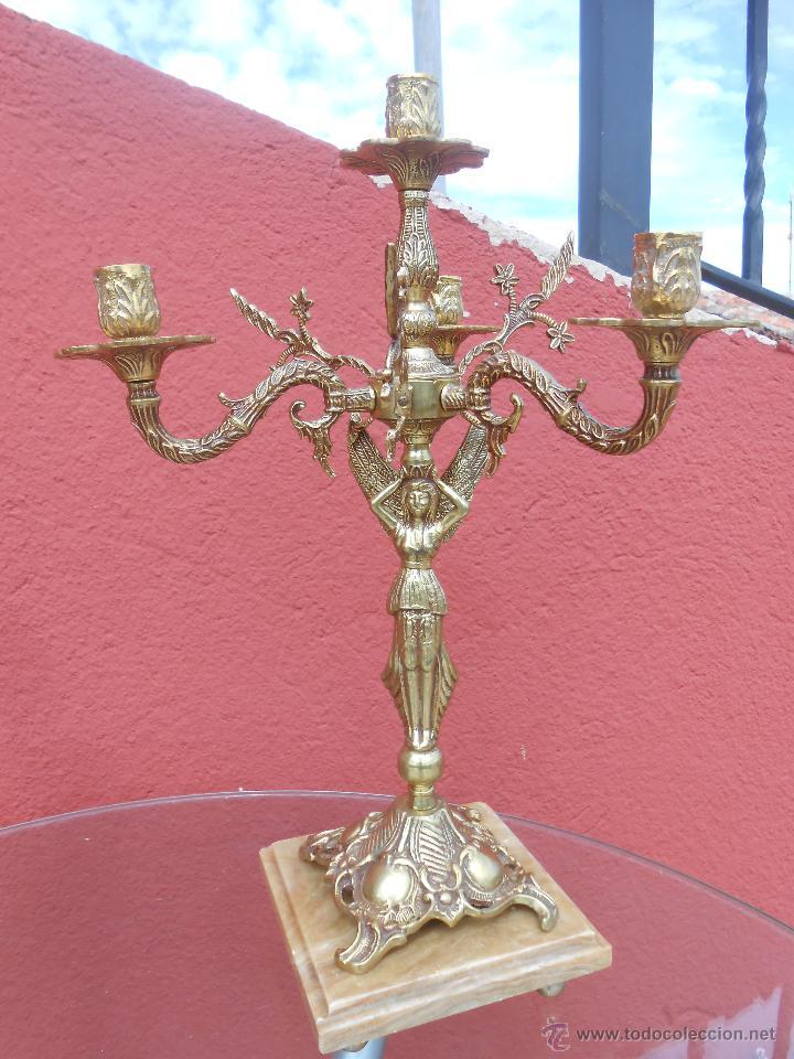 Antigüedades: PAREJA DE ANTIGUOS CANDELABROS DE BRONCE, CUATRO VELAS, BASE DE MÁRMOL - Foto 6 - 253146390