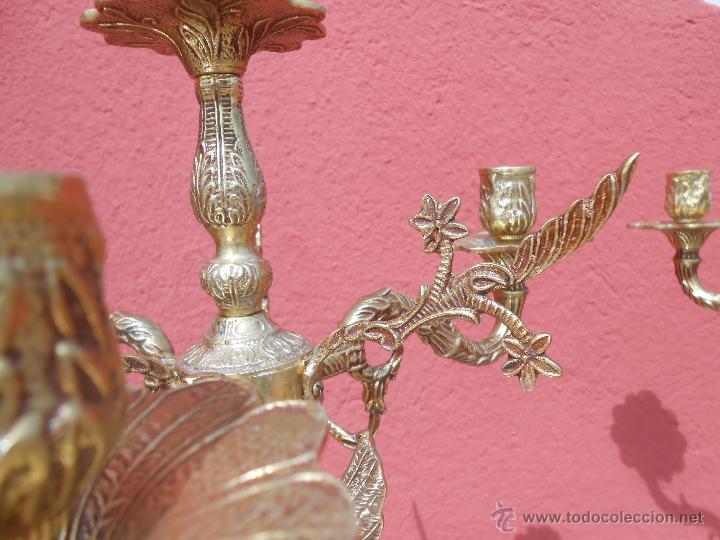 Antigüedades: PAREJA DE ANTIGUOS CANDELABROS DE BRONCE, CUATRO VELAS, BASE DE MÁRMOL - Foto 12 - 253146390