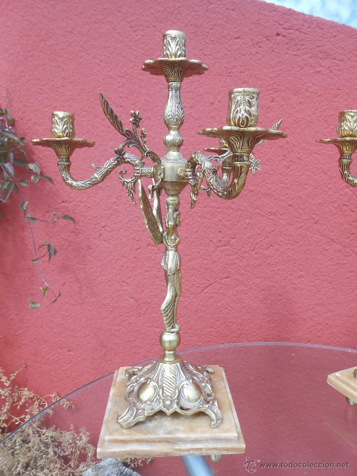 Antigüedades: PAREJA DE ANTIGUOS CANDELABROS DE BRONCE, CUATRO VELAS, BASE DE MÁRMOL - Foto 13 - 253146390