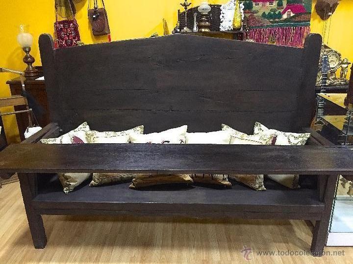 escaño, escano,banco madera de castaño - Comprar Sillones Antiguos ...