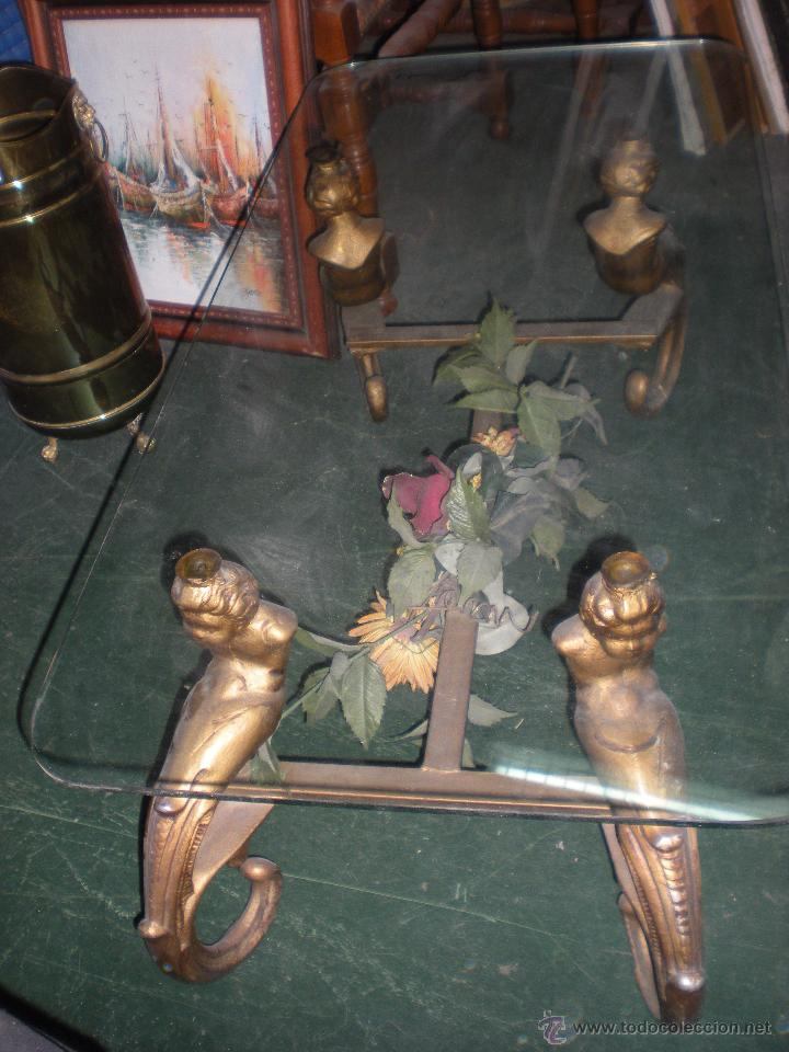 MESA CON CRISTAL 100X50CM Y ALTURA 40CM (Antigüedades - Muebles Antiguos - Mesas Antiguas)