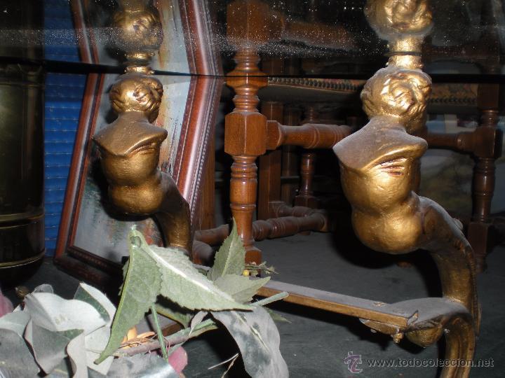 Antigüedades: Mesa con cristal 100x50cm y altura 40cm - Foto 8 - 51217553