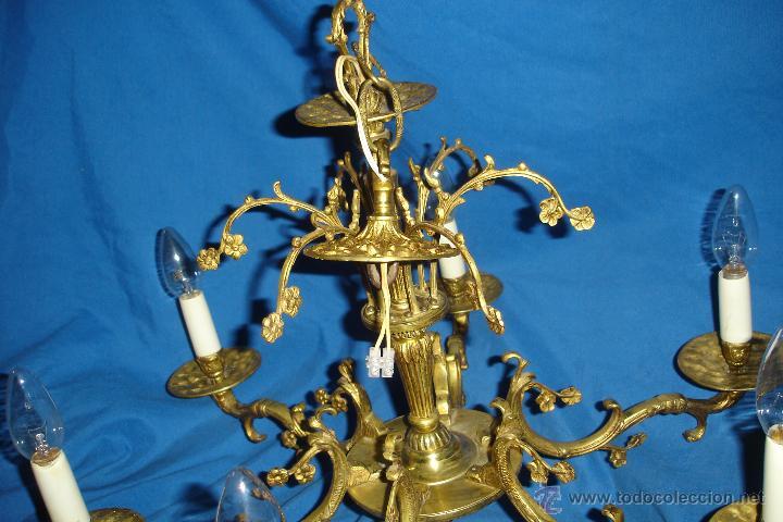 Antigüedades: LÁMPARA DE TECHO EN BRONCE - REVISADA Y FUNCIONA - Foto 2 - 214605523
