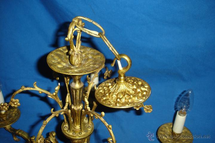 Antigüedades: LÁMPARA DE TECHO EN BRONCE - REVISADA Y FUNCIONA - Foto 4 - 214605523