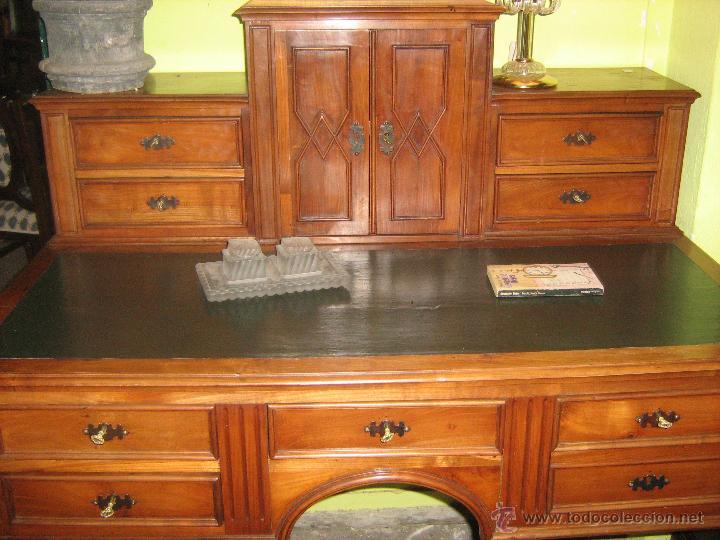 Antigüedades: Mesa de escritorio con altillo antigua - Foto 2 - 51248571