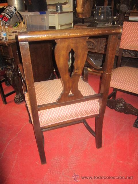 Antigüedades: Fantástica mesa de despacho con talla en las patas. Con sillón a juego - Foto 13 - 49127199