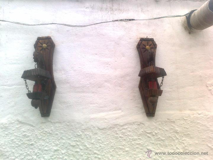 Antigüedades: 4 LAMPARAS PORTAVELAS ANTIGUAS EN MADERA TALLADA - Foto 2 - 51252723