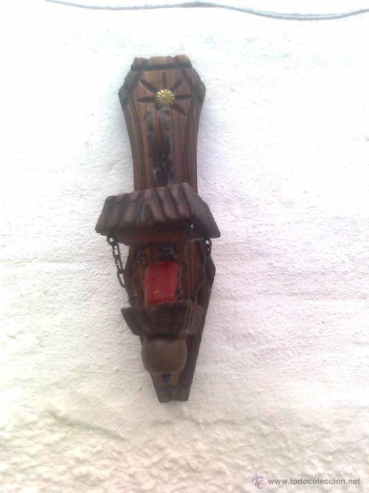 Antigüedades: 4 LAMPARAS PORTAVELAS ANTIGUAS EN MADERA TALLADA - Foto 5 - 51252723