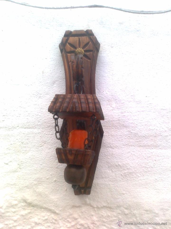 Antigüedades: 4 LAMPARAS PORTAVELAS ANTIGUAS EN MADERA TALLADA - Foto 6 - 51252723