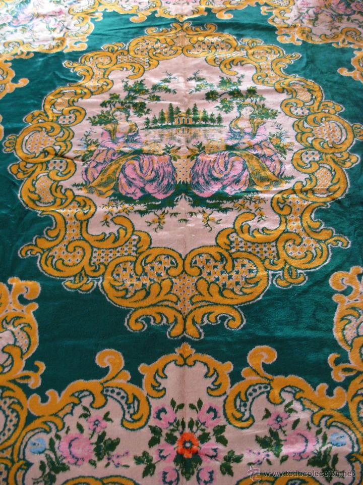 Antigüedades: Muy decorativo tapiz aterciopelado de grandes dimensiones 2,09x1,80cm - Foto 11 - 51252789
