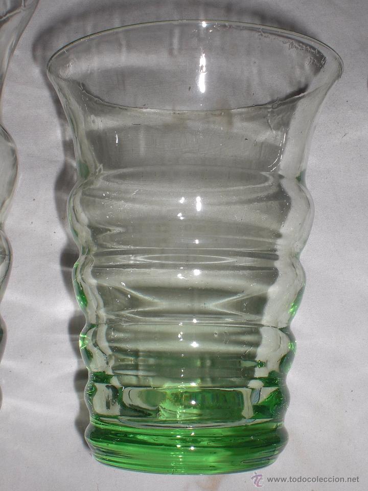 Antigüedades: Antiguo juego de 6 vasos cristal soplado - Foto 3 - 51255457