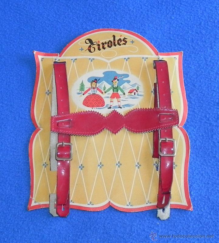 ANTIGUOS TIRANTES DE TIROLÉS INFANTIL DE CUERO EN BLISTER SIN ESTRENAR (Antigüedades - Moda y Complementos - Infantil)