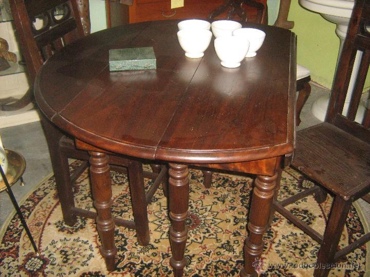 mesa antigua de comedor redonda con alas y exte - Kaufen Antike ...