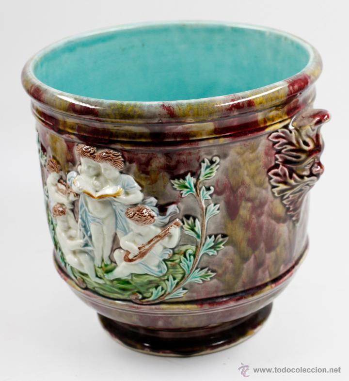 Antigüedades: Magnífico macetero de cerámica finales s. XIX. 24cm alto x 25cm diámetro. - Foto 3 - 51325393