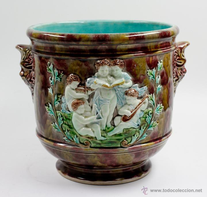 Antigüedades: Magnífico macetero de cerámica finales s. XIX. 24cm alto x 25cm diámetro. - Foto 4 - 51325393