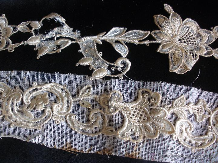 Antigüedades: tiras de encaje en hilo de seda - Foto 2 - 51340827