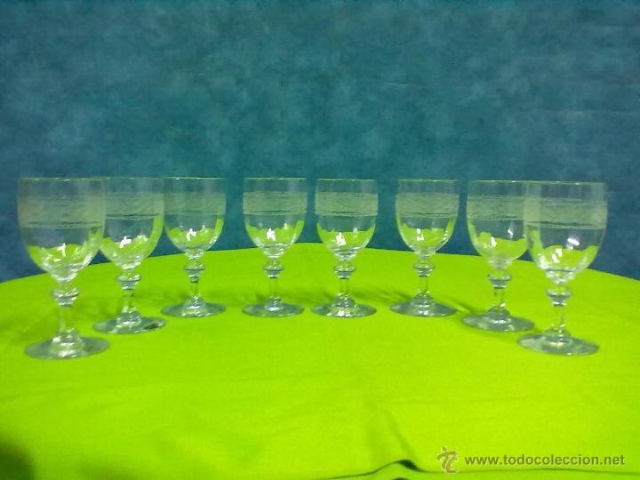 OCHO COPAS CRISTAL TALLADO BOHEMIA (Antigüedades - Cristal y Vidrio - Bohemia)