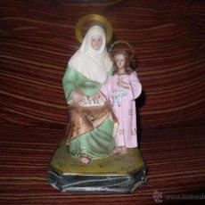 Antigüedades: FIGURA EN ESCAYOLA POLICROMADA, PINTADA A MANO,VIRGEN MARIA Y JESUS NIÑO.PRECIOSA.VER FOTOS.. Lote 51366511