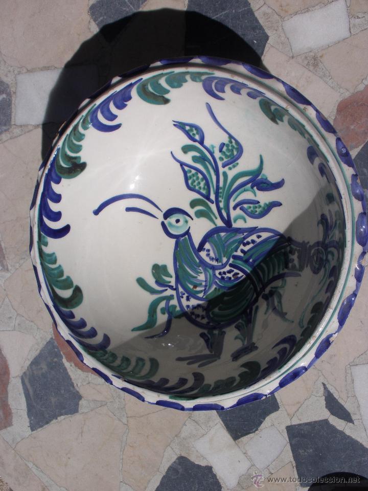 Antigüedades: Gran frutero de cerámica de Fajalauza Granada decorada con ave tonos azul y verde - Foto 8 - 51383241