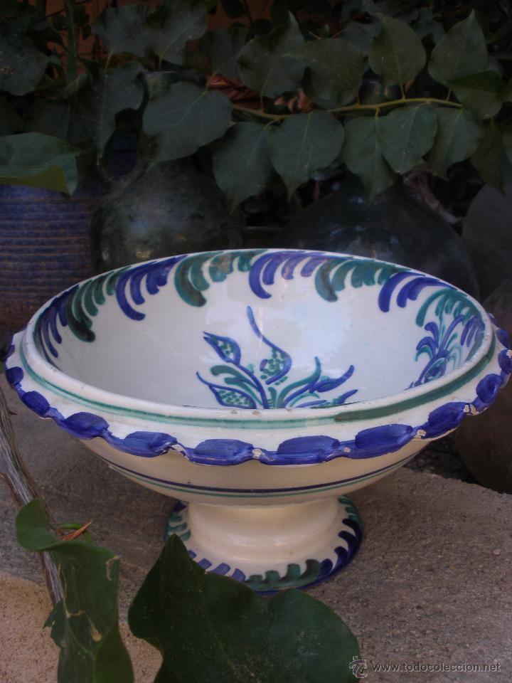 Antigüedades: Gran frutero de cerámica de Fajalauza Granada decorada con ave tonos azul y verde - Foto 9 - 51383241