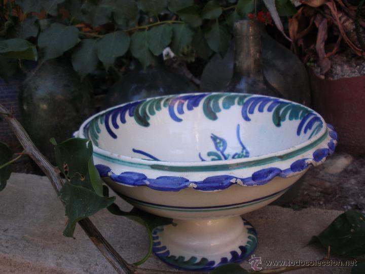 Antigüedades: Gran frutero de cerámica de Fajalauza Granada decorada con ave tonos azul y verde - Foto 11 - 51383241