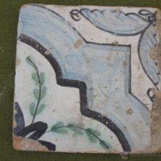 Antigüedades: AZULEJO ANTIGUO DE VALENCIA / MANISES / ALCORA - TECNICA LISA - RENACIMIENTO - S/ XVII.. Lote 51387930