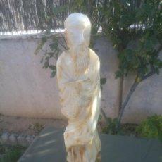 Antiquitäten - GRAN ESCULTURA ANCIANO ORIENTAL EN TALLA DE ALABASTRO - 51394027