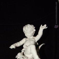 Antigüedades: AUTÉNTICA PORCELANA DE ALGORA CERTIFICADA. CARACTERÍSTICO ÁNGEL CON FAISÁN. PERFECTO ESTADO. Lote 51406460