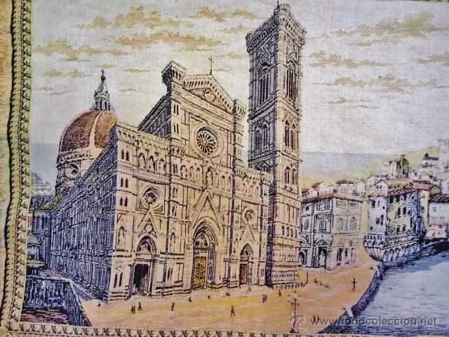 Antigüedades: Antiguo tapiz de la ciudad de Florencia. - Foto 2 - 51408631