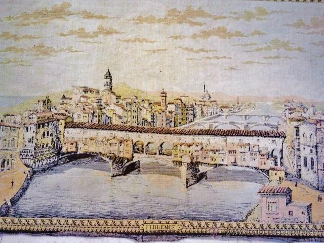 Antigüedades: Antiguo tapiz de la ciudad de Florencia. - Foto 3 - 51408631