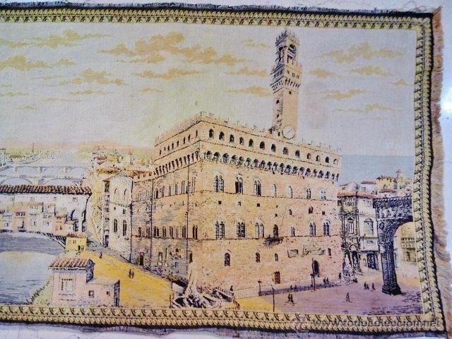 Antigüedades: Antiguo tapiz de la ciudad de Florencia. - Foto 4 - 51408631