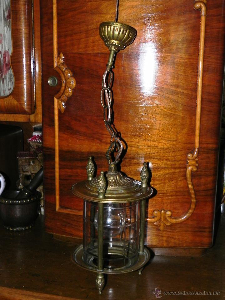 ANTIGUA LAMPARA DE FAROL DE BRONCE Y CRISTAL TALLADO (Antigüedades - Iluminación - Faroles Antiguos)