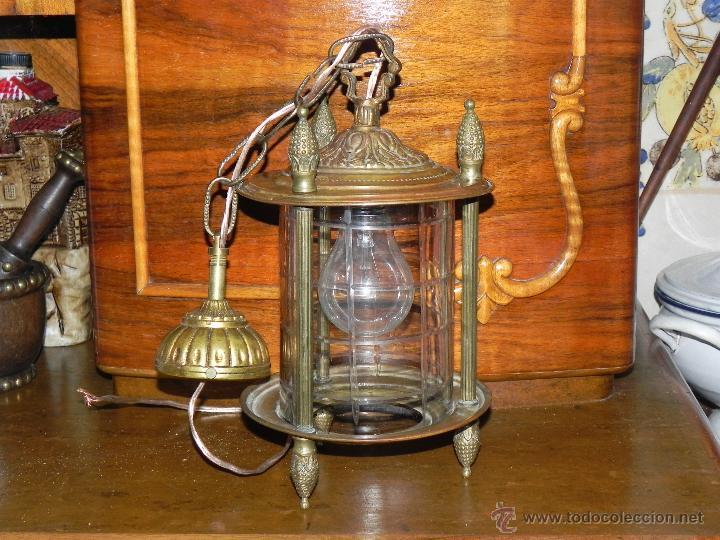 Antigüedades: ANTIGUA LAMPARA DE FAROL DE BRONCE Y CRISTAL TALLADO - Foto 2 - 135359801