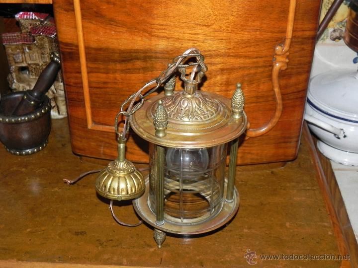 Antigüedades: ANTIGUA LAMPARA DE FAROL DE BRONCE Y CRISTAL TALLADO - Foto 3 - 135359801