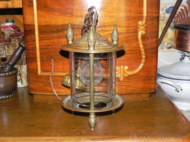Antigüedades: ANTIGUA LAMPARA DE FAROL DE BRONCE Y CRISTAL TALLADO - Foto 4 - 135359801