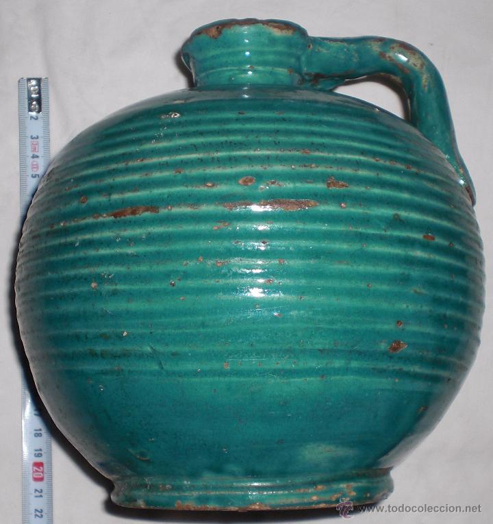 ANTIGUA JARRA CERAMICA PERULA DE ÚBEDA PRECIOSA, COLOR ESMERALDA, FINALES DEL SIGLO XIX (Antigüedades - Porcelanas y Cerámicas - Úbeda)