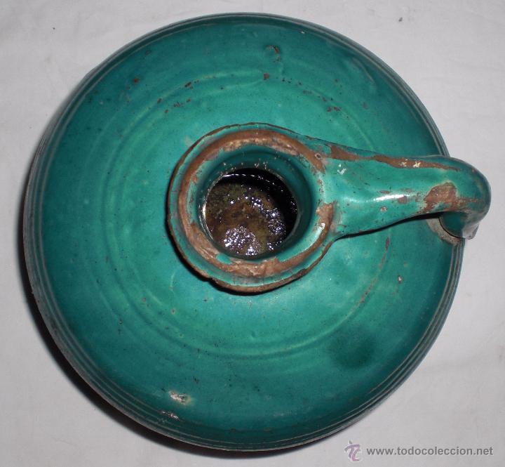 Antigüedades: Antigua jarra ceramica perula de úbeda preciosa, color esmeralda, finales del siglo XIX - Foto 2 - 51447363