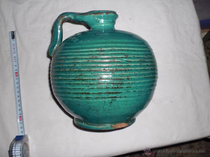 Antigüedades: Antigua jarra ceramica perula de úbeda preciosa, color esmeralda, finales del siglo XIX - Foto 3 - 51447363