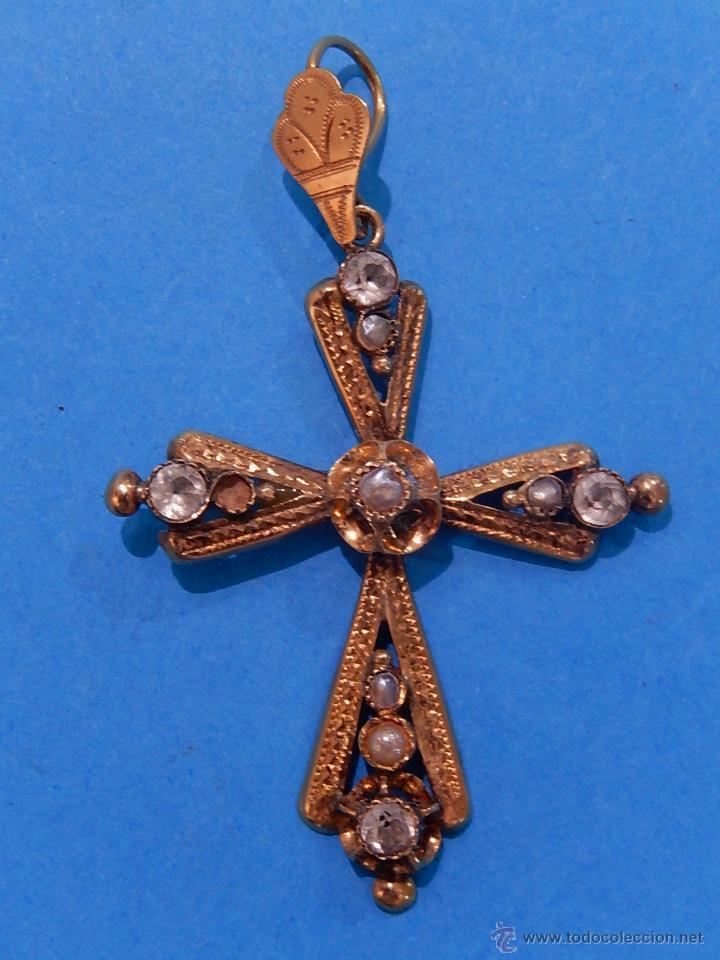 ANTIGUA CRUZ MALLORQUINA, ORO Y PEDRERÍA. SIGLO XIX. MALLORCA. BALEARES. (Antigüedades - Religiosas - Cruces Antiguas)