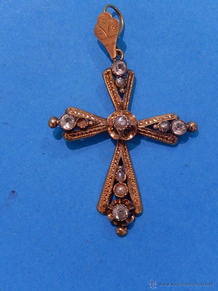 Antigüedades: Antigua cruz mallorquina, oro y pedrería. Siglo XIX. Mallorca. Baleares. - Foto 2 - 54752720