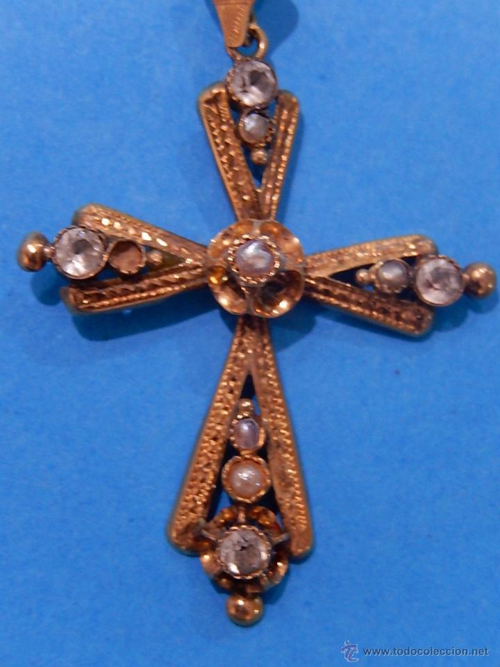 Antigüedades: Antigua cruz mallorquina, oro y pedrería. Siglo XIX. Mallorca. Baleares. - Foto 3 - 54752720