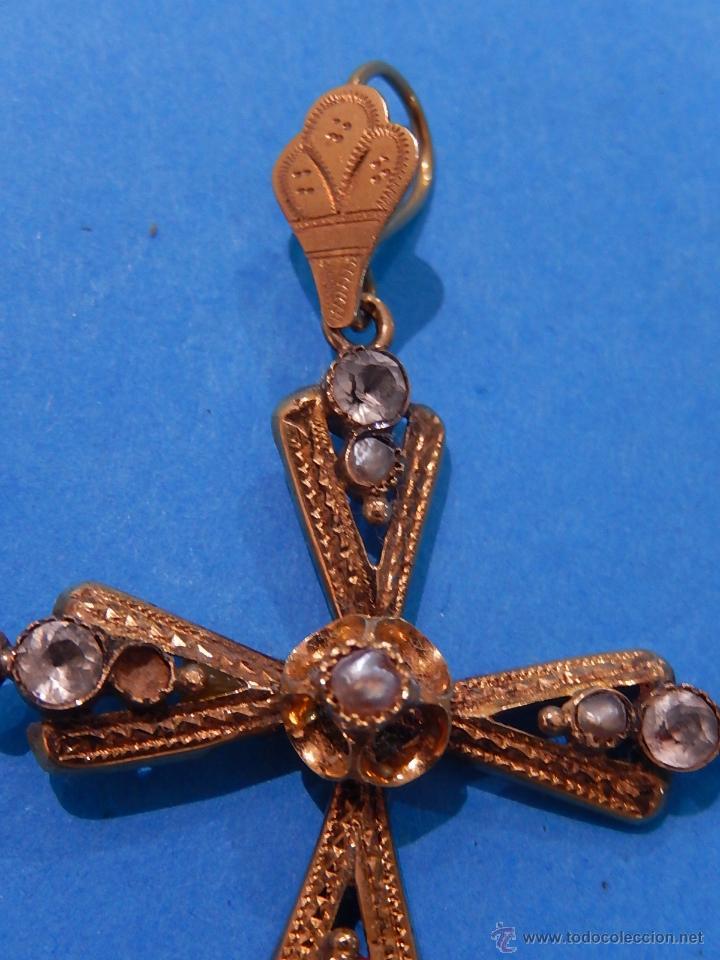 Antigüedades: Antigua cruz mallorquina, oro y pedrería. Siglo XIX. Mallorca. Baleares. - Foto 5 - 54752720