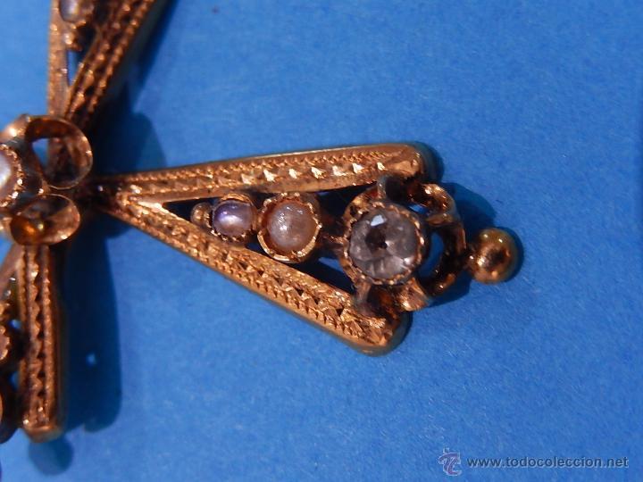 Antigüedades: Antigua cruz mallorquina, oro y pedrería. Siglo XIX. Mallorca. Baleares. - Foto 6 - 54752720