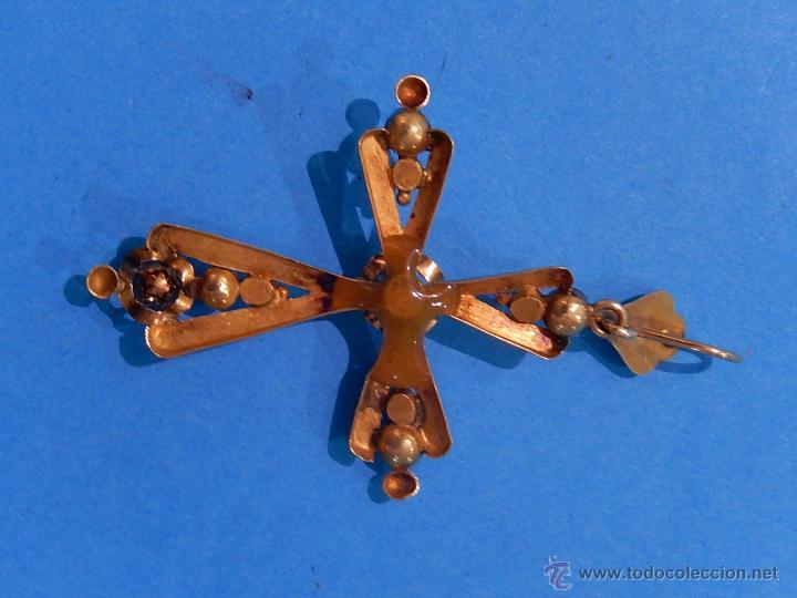 Antigüedades: Antigua cruz mallorquina, oro y pedrería. Siglo XIX. Mallorca. Baleares. - Foto 7 - 54752720