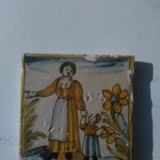 Antigüedades: AZULEJO CATALAN SIGLO XVII MUJER CON NIÑO. Lote 51469254