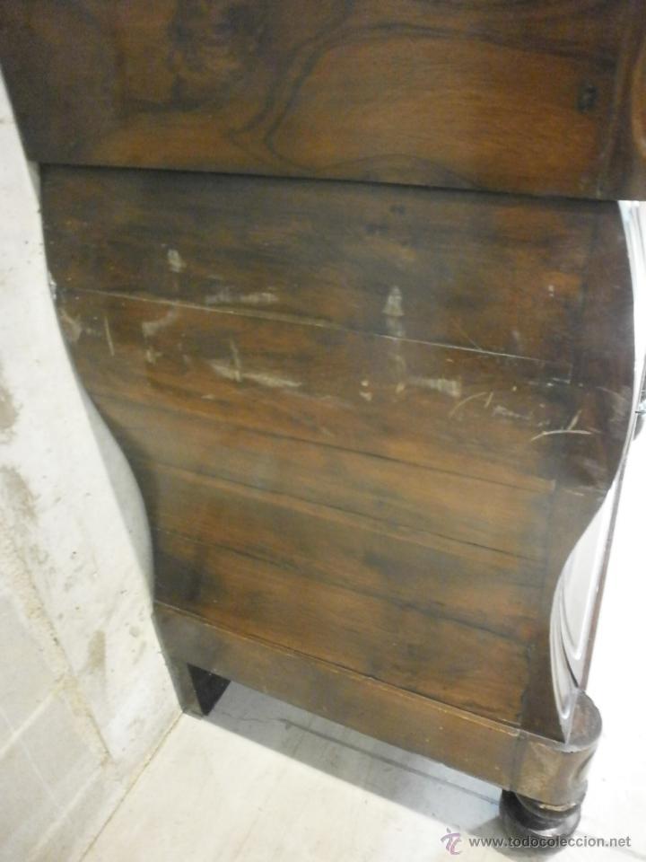 Antigüedades: Antigua cómoda Isabelina (ditada) - bombeada - madera de jacarandá - sobre de mármol -S. XIX - Foto 5 - 146482036