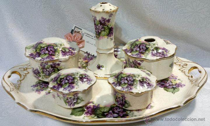 Antiguo y exclusivo juego de tocador en loza in comprar - Porcelana inglesa antigua ...