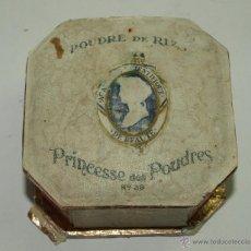 Antigüedades: CAJA ANTIGUA DE POLVOS DE ARROZ-PRINCESSE DES POUDRES- SELLO DE PERFUMERIA ORIENTE DE BURGOS. Lote 51484217
