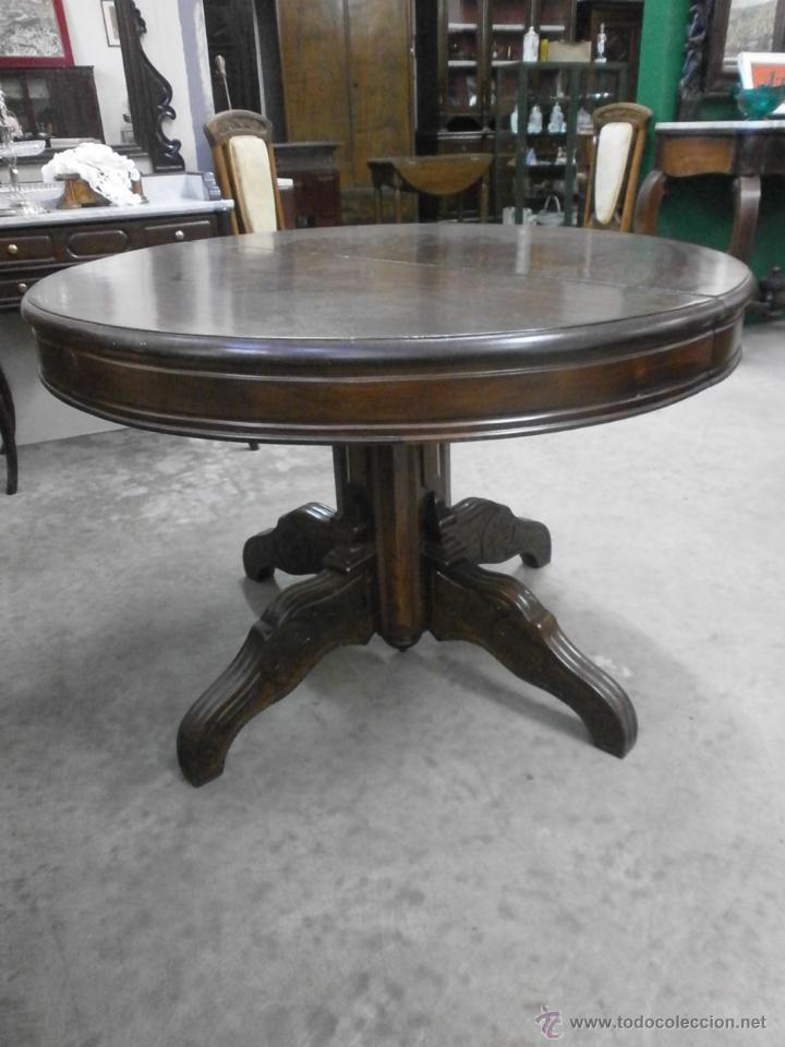 Antigua mesa redonda isabelina de comedor comprar for Mesas antiguas de madera
