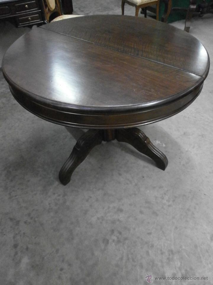 Antigüedades: Antigua mesa redonda - Isabelina - de comedor - extensible - madera de nogal - siglo XIX - Foto 2 - 53717507